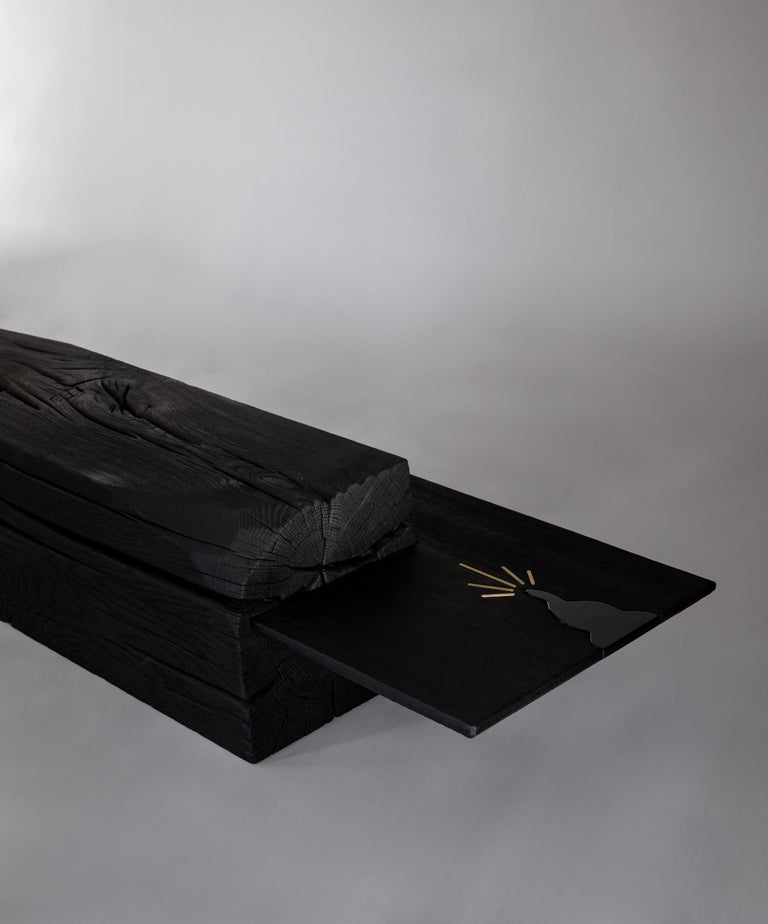 Belgian Unique Charcoal Black Coffee Table by Jeremy Descamps For Sale