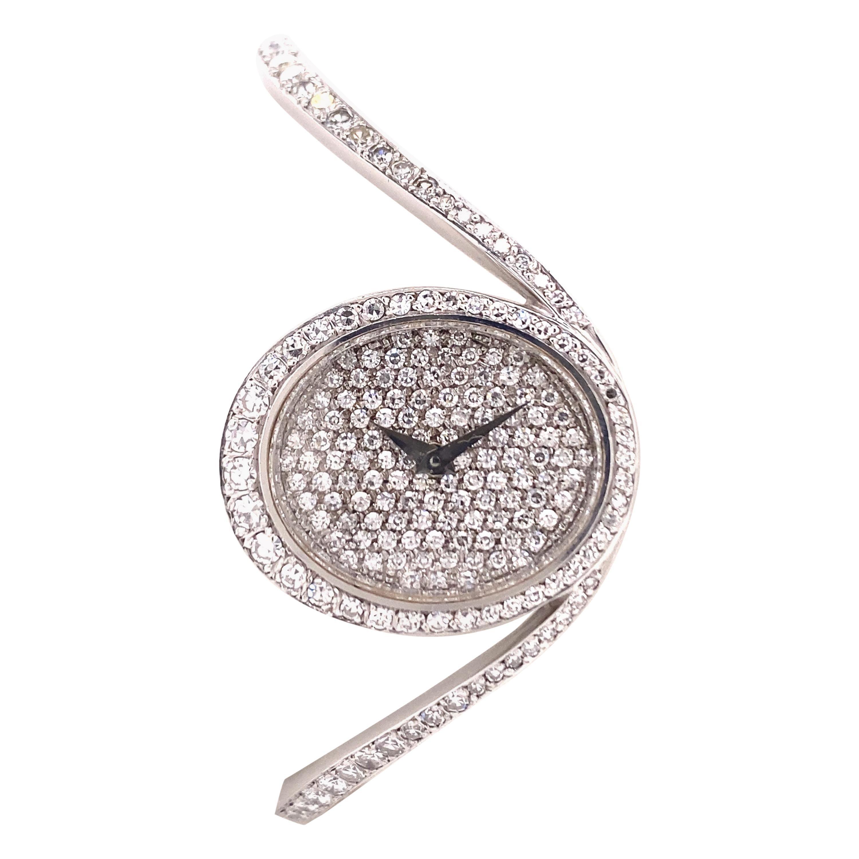 Unique Chopard Diamond Bangle Watch in White Gold 18k
