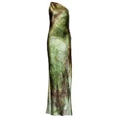Unique Christian Dior by John Galliano Asymmetric Silk Evening Gown Maxi Dress