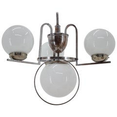 Unique Chrome Bauhaus Chandelier or Pendant, 1930s