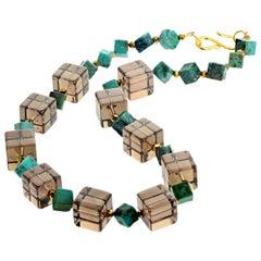 Unique Clear Smoky Quartz Cubes and Turquoise Necklace