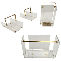 Unique Collection of David Lange Lucite and Brass Designs, France, 1970s