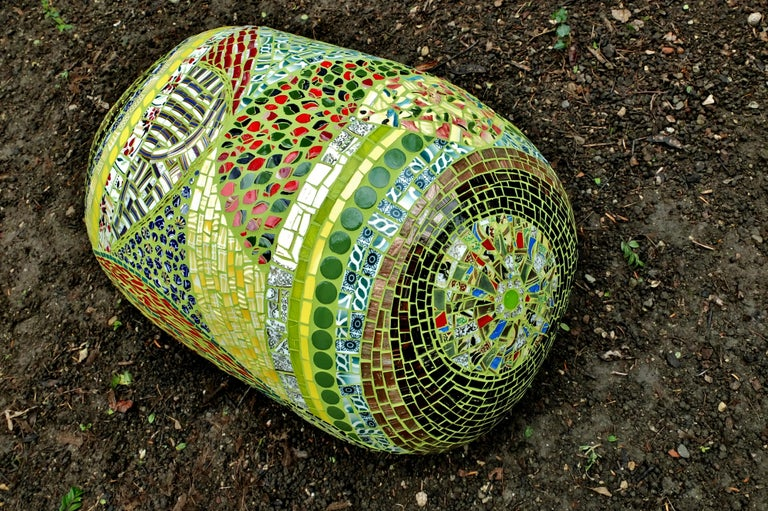 One of a kind Mosaic Ottoman pouf created using an original vintage small customised covered in fragments of ceramic, porcelain dishes , mirrors, glass, etc. All these different materials are gather together and hand-cut one by one. Then the