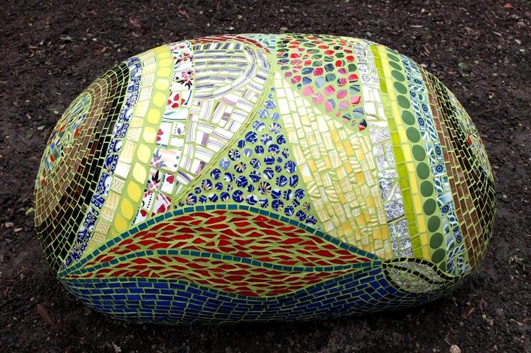 Art Deco Unique Colorful Mosaic Pouf Ottoman, France For Sale