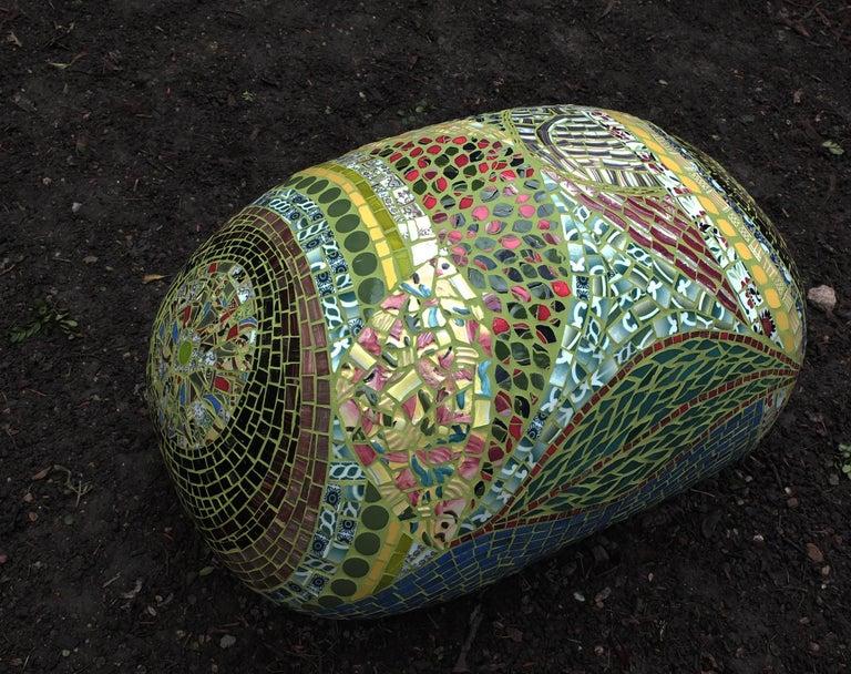 French Unique Colorful Mosaic Pouf Ottoman, France For Sale