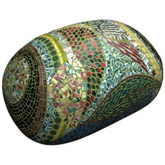 Unique Colorful Mosaic Pouf Ottoman, France