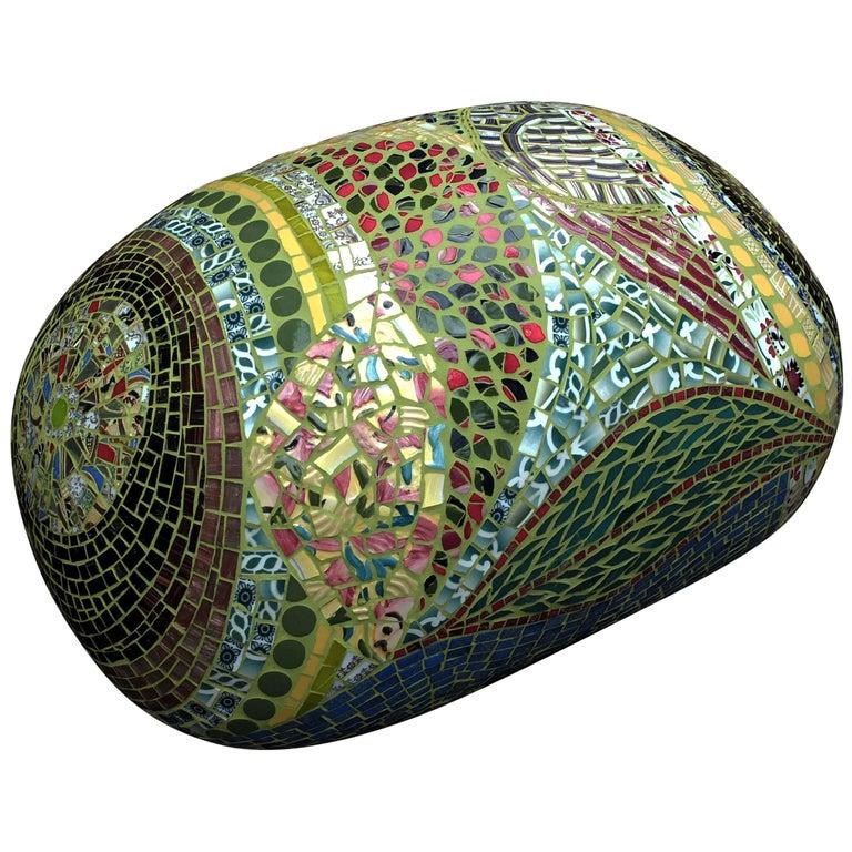 Unique Colorful Mosaic Pouf Ottoman, France For Sale