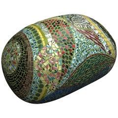 Unique Colorful Mosaic Pouf Ottoman, France