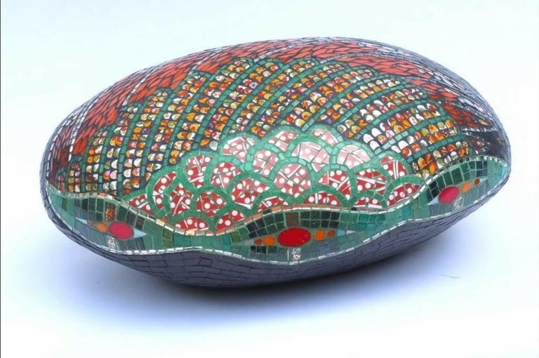 French Unique Colorful Mosaic Pouf Ottoman Sculpture, France For Sale