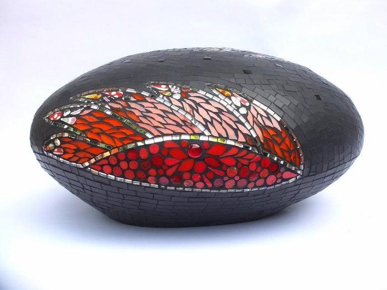 Contemporary Unique Colorful Mosaic Pouf Ottoman Sculpture, France For Sale