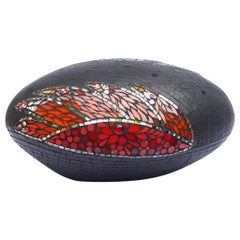 Unique Colorful Mosaic Pouf Ottoman Sculpture, France