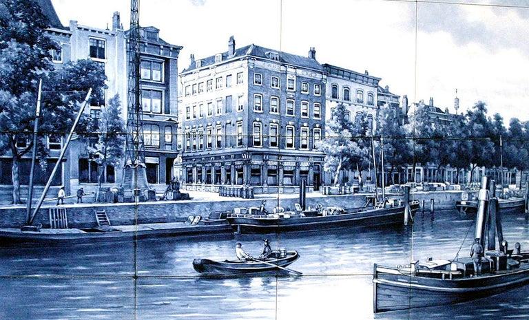 Dutch Unique Commemorative Painted Delft Tile Picture of Rotterdam Waterfront For Sale