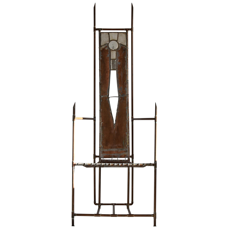 Unique Copper Brass and Glass Armchair Sculpture