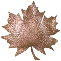 Unique Copper Hand Beaten Canadian Maple Leaf Bowl, 1950s