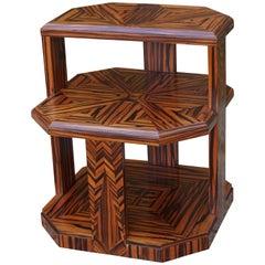 Unique Coromandel Art Deco Étagère Table with Stunning Inlaid Geometric Patterns