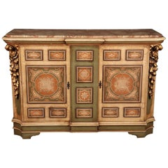 Unique Crackle Finished Gilded Marble Top Venetian Style Buffet Sideboard