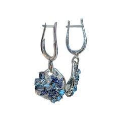 Unique Creation Diamond Blue Sapphire 1 Carat Topaz Designer Earrings