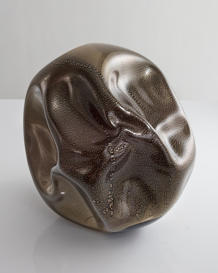 American Unique Crumpled Sculptural Vessel Designed and Made by Jeff Zimmerman For Sale