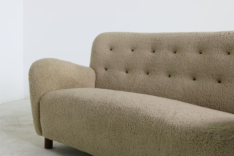Mid-Century Modern Unique Curved Sofa, Midcentury, Teddy Fur, 1950s, Mogens Lassen, Tufted Leather For Sale