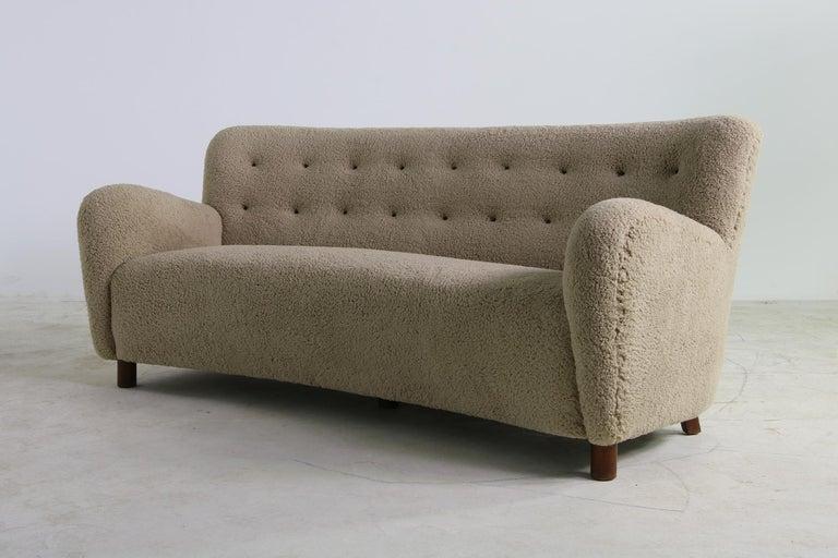 Danish Unique Curved Sofa, Midcentury, Teddy Fur, 1950s, Mogens Lassen, Tufted Leather For Sale