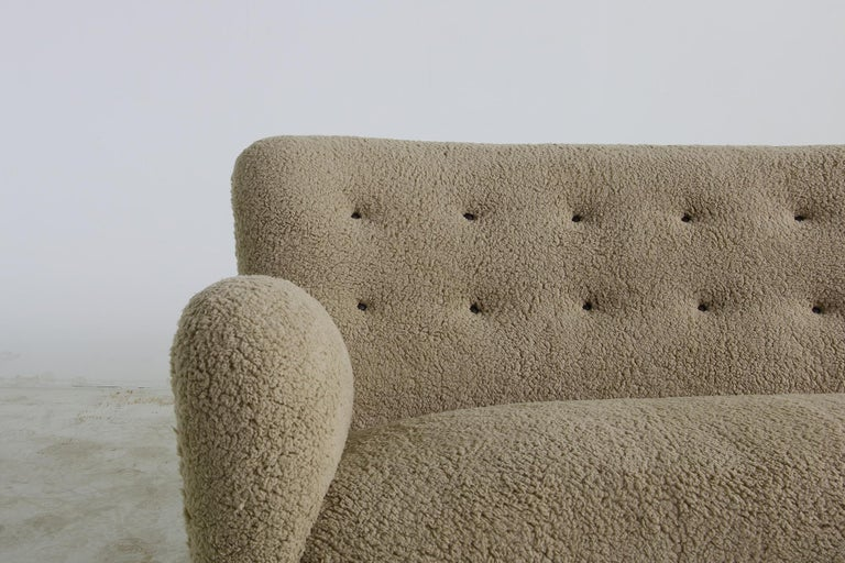 Mid-20th Century Unique Curved Sofa, Midcentury, Teddy Fur, 1950s, Mogens Lassen, Tufted Leather For Sale