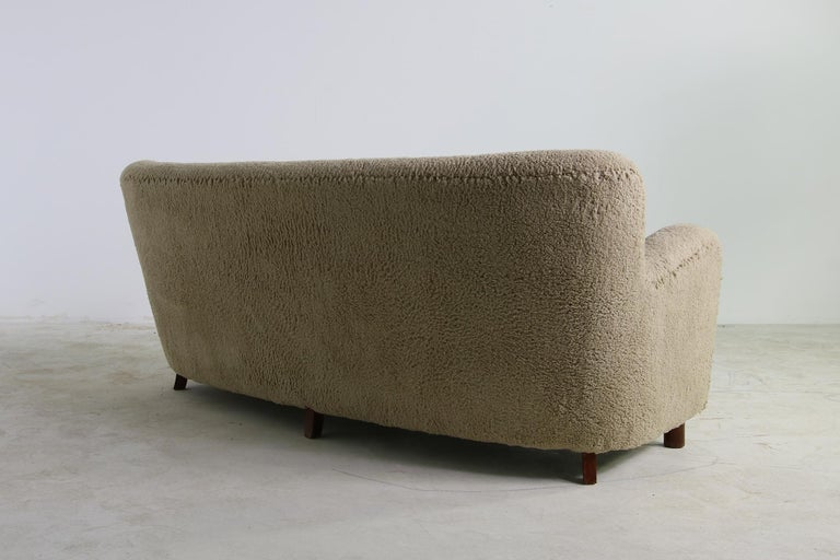 Fabric Unique Curved Sofa, Midcentury, Teddy Fur, 1950s, Mogens Lassen, Tufted Leather For Sale