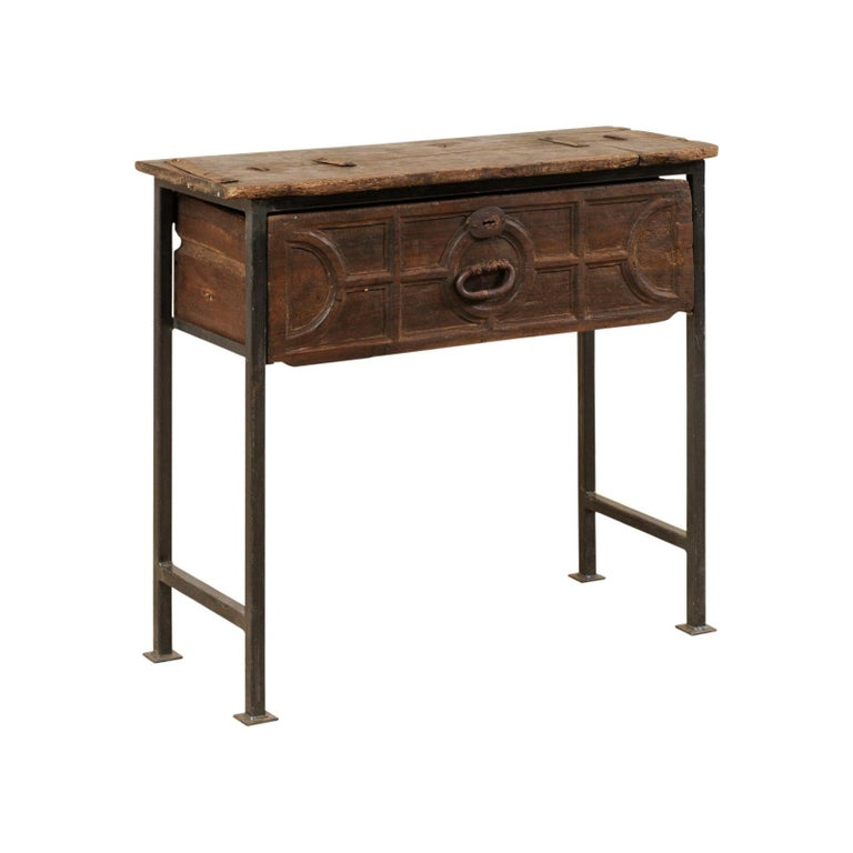Unique Custom Chest from 18th Century Spanish Drawer with Iron Base and Wood Top For Sale