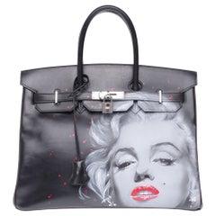 "UNIQUE Customized ""Marilyn"" #78 Birkin 35 handbag in black/brown calfskin, PHW"