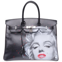 "UNIQUE Customized ""Marilyn"" #78 Birkin 35 handbag in black/brown calfskin, PHW"
