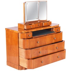 Unique Czech Art Deco Dressing Table with Mirror, Cherry-Tree, Restored, 1920s