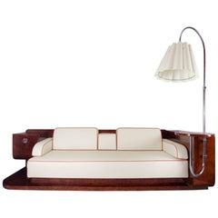 Unique Czech Wide Art Deco Sofa with Lamp, Walnut Burl, Completely Restored