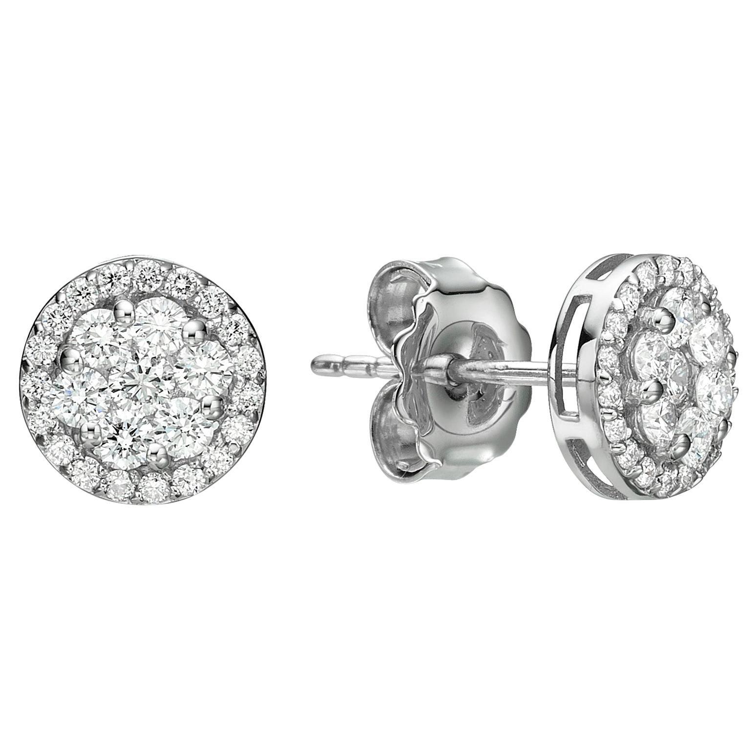 Unique Dainty Stud Diamond Earrings 0.80 Carat 18 Karat Gold Solid Gold Earrings