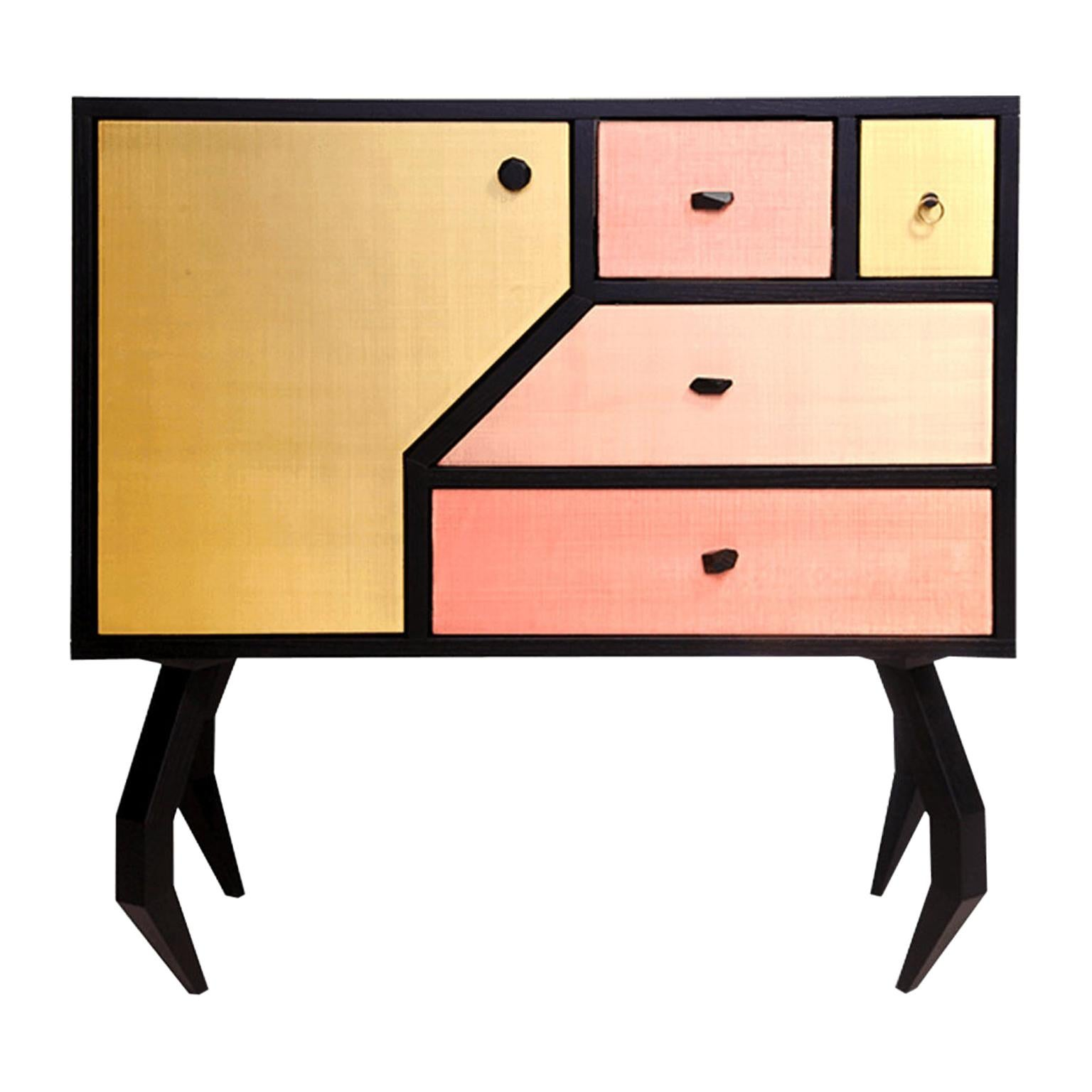 Unique Designer Sideboard with Multiple Metal Drawers and Spider-Legs