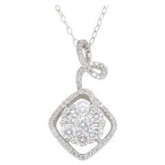 Unique Diamond Floral Pendant Necklace in 18 Karat White Gold