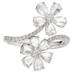 Unique Diamond White Gold By-Pass Flower Ring
