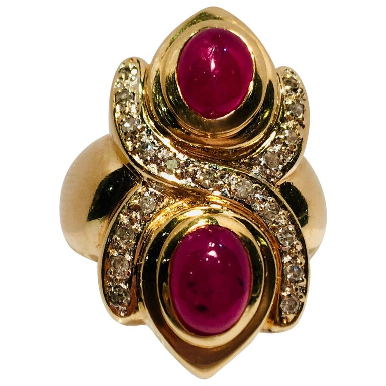 "Unique Double Ruby Oval Cabochon Figure 8 ""XO"" Hug and Kisses Diamond Ring For Sale"