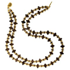Gemjunky Double Strand Necklace of Gold and Smoky Quartz Squares and Rondelles