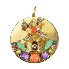 Unique Dutch Windmill Gem Stone Gold Charm/Pendant