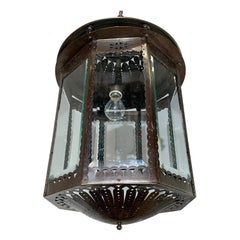 Unique Early 1900 Arts & Crafts Brass and Beveled Glass Pendant Light / Fixture