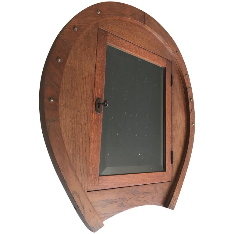 Unique Early 1900s Horse Shoe Shape Display Wall Cabinet
