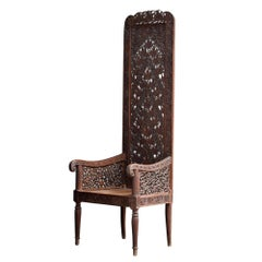 Unique Early 20th Century Hand Carved Rajasthani High Back Chair