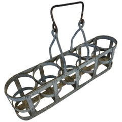 Unique Early 20th Century Vintage French Five Bottle Wine Carrier Basket