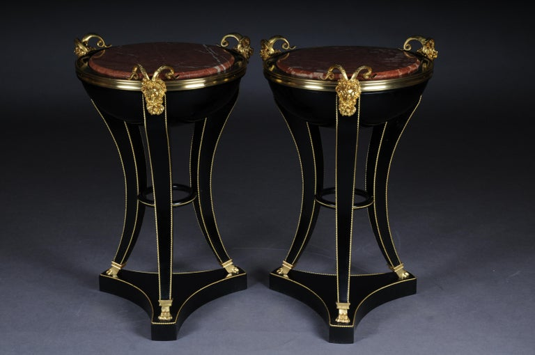 Unique ebonized side table in the Empire style