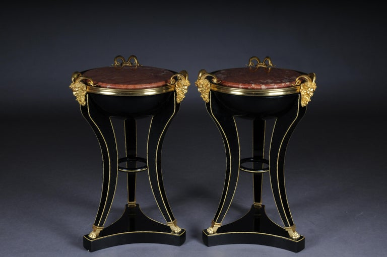 French Unique Ebonized Side Table or Pillar in the Empire Style For Sale