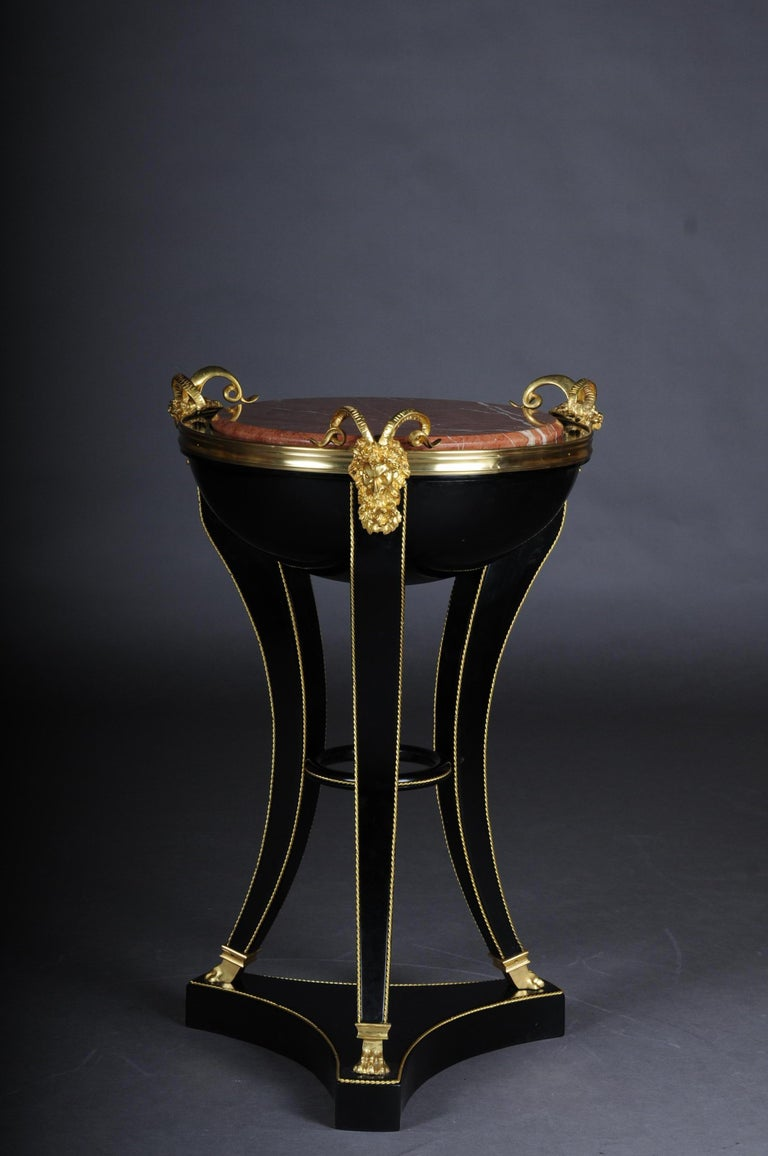 Unique Ebonized Side Table or Pillar in the Empire Style In Good Condition For Sale In Berlin, DE