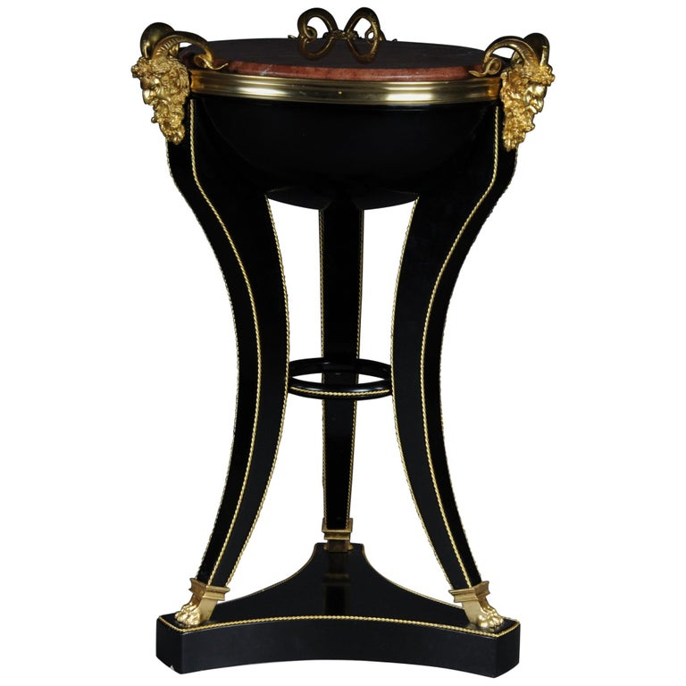 Unique Ebonized Side Table or Pillar in the Empire Style For Sale