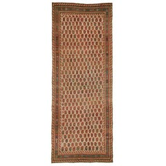 Unique Eclectic Persian Gallery Size Corridor Hallway Blue Field Paisley Rug