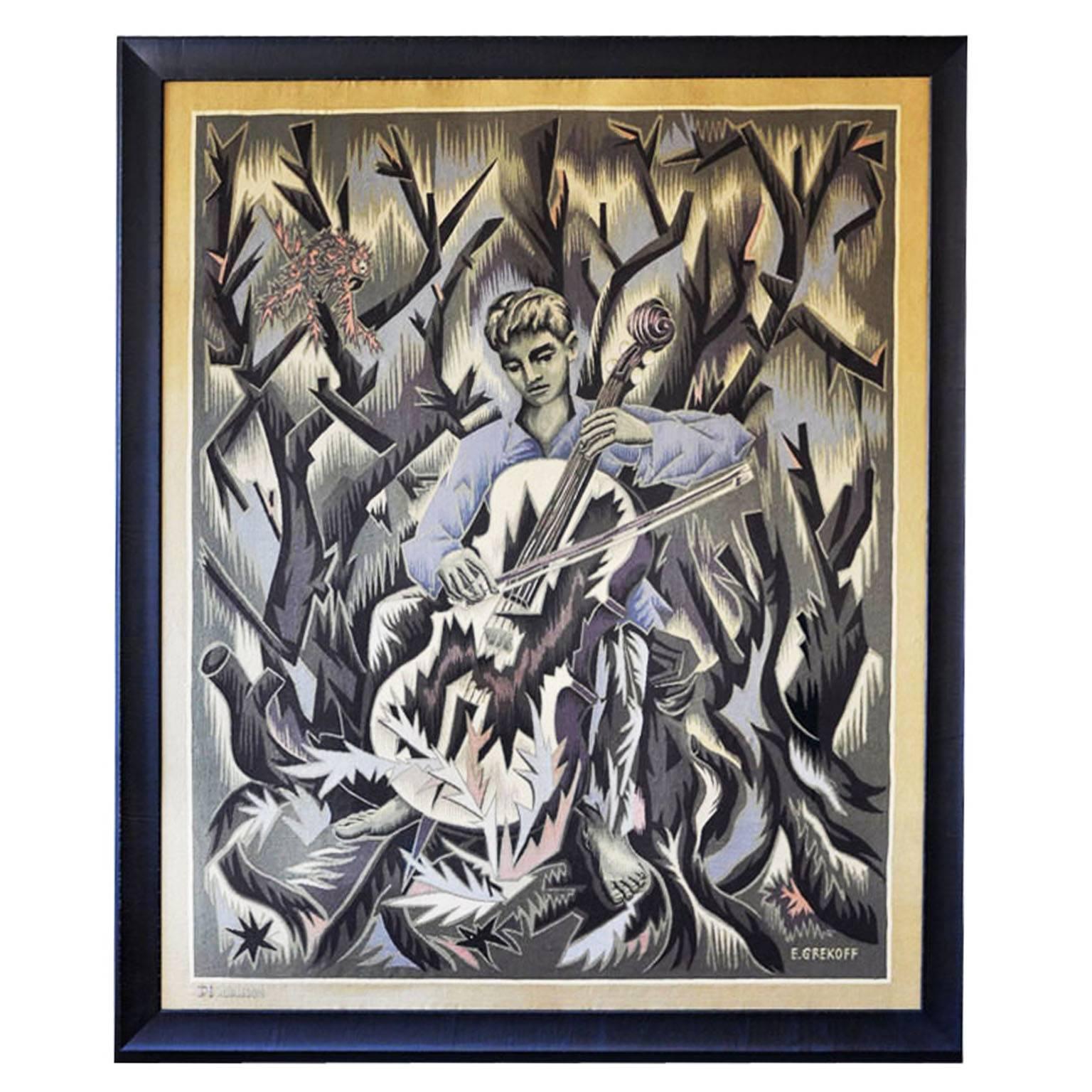 Unique Elie Grekoff Aubusson Tapestry