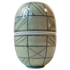 Unique Elliptical Ceramic Egg Jar by Poul E. Eliasen, Own Studio, 1980s