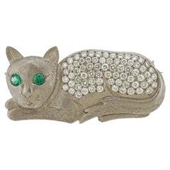 Unique Emerald Diamond White Gold Cat Brooch